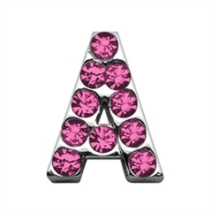 """Mirage Pet Products 3/4"""" (18mm) Pink Letter Sliding Charms A 3/4 (18mm)"""