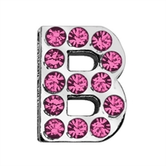 """Mirage Pet Products 3/4"""" (18mm) Pink Letter Sliding Charms B 3/4 (18mm)"""