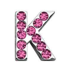 """Mirage Pet Products 3/4"""" (18mm) Pink Letter Sliding Charms K 3/4 (18mm)"""