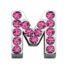 """Mirage Pet Products 3/4"""" (18mm) Pink Letter Sliding Charms M 3/4 (18mm)"""