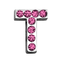 """Mirage Pet Products 3/4"""" (18mm) Pink Letter Sliding Charms T 3/4 (18mm)"""