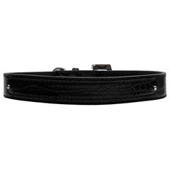 Mirage Pet Products 18mm  Two Tier Faux Croc Collar Black Large
