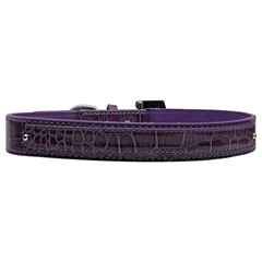 Mirage Pet Products 18mm  Two Tier Faux Croc Collar Purple Medium