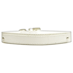 Mirage Pet Products 18mm  Two Tier Faux Croc Collar White Large