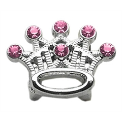 "Mirage Pet Products 3/8"" Slider Crystal Crown Charm Pink 3/8"""