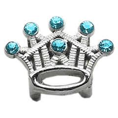 """Mirage Pet Products 3/8"""" Slider Crystal Crown Charm Turquoise"""