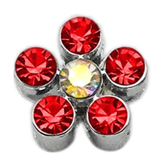 """Mirage Pet Products 3/8"""" Slider Flower Charm Red 3/8"""