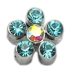 """Mirage Pet Products 3/8"""" Slider Flower Charm Turquoise 3/8"""