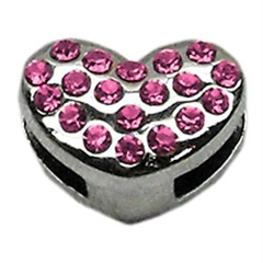 "Mirage Pet Products 3/8"" Slider Puffy Heart Charm Pink -"