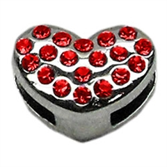 """Mirage Pet Products 3/8"""" Slider Puffy Heart Charm Red"""