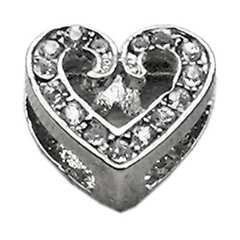 "Mirage Pet Products 3/8"" Slider Scripty Heart Charm Clear 3/8"""