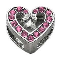"""Mirage Pet Products 3/8"""" Slider Scripty Heart Charm Pink 3/8"""""""
