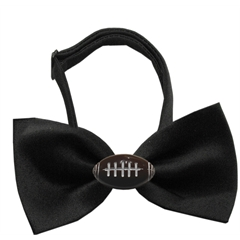 Mirage Pet Products Football Chipper Black Bow Tie