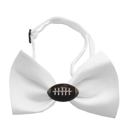 Mirage Pet Products Football Chipper White Bow Tie