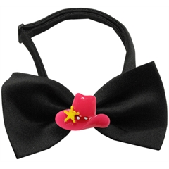 Mirage Pet Products Pink Cowboy Hat Chipper Black Bow Tie