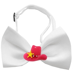 Mirage Pet Products Pink Cowboy Hat Chipper White Bow Tie