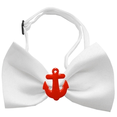 Mirage Pet Products Red Anchors Chipper White Bow Tie