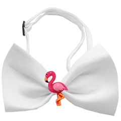 Mirage Pet Products Pink Flamingo Chipper White Bow Tie