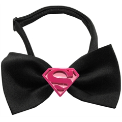 Mirage Pet Products Pink Super Chipper Black Bow Tie