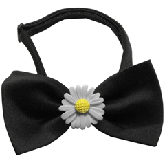 Mirage Pet Products White Daisies Chipper Black Bow Tie