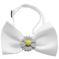 Mirage Pet Products White Daisies Chipper White Bow Tie