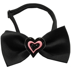 Mirage Pet Products Black and Pink Hearts Chipper Black Bow Tie