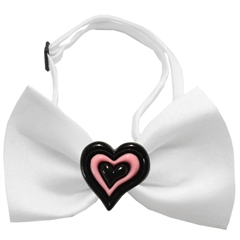 Mirage Pet Products Black and Pink Hearts Chipper White Bow Tie
