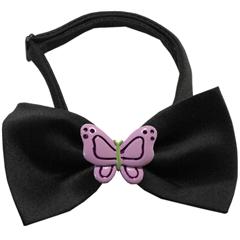 Mirage Pet Products Purple Butterflies Chipper Black Bow Tie