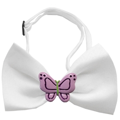 Mirage Pet Products Purple Butterflies Chipper White Bow Tie
