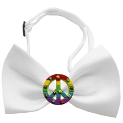 Mirage Pet Products Rainbow Peace Sign Chipper White Bow Tie