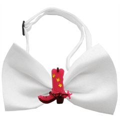 Mirage Pet Products Pink Cowboy Boots Chipper White Bow Tie