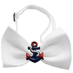 Mirage Pet Products Patriotic Anchors Chipper White Bow Tie