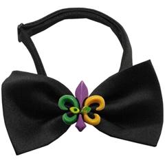 Mirage Pet Products Mardi Gras Fleur de Lis Chipper Black Bow Tie