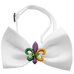 Mirage Pet Products Mardi Gras Fleur de Lis Chipper White Bow Tie