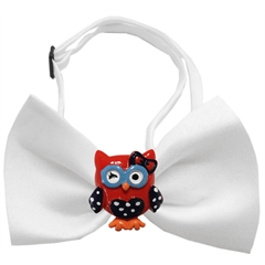 Mirage Pet Products Patriotic Owls Chipper White Bow Tie