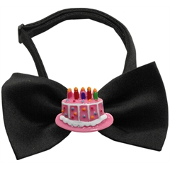 Mirage Pet Products Pink Birthday Cake Chipper Black Bow Tie