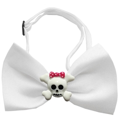 Mirage Pet Products Girly Skull Chipper White Bow Tie