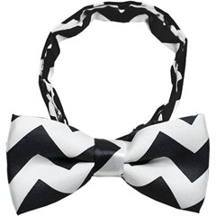 Mirage Pet Products Dog Bow Tie Black Chevron