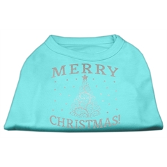 Mirage Pet Products Shimmer Christmas Tree Pet Shirt Aqua Lg (14)