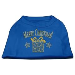 Mirage Pet Products Golden Christmas Present Dog Shirt Blue Lg (14)