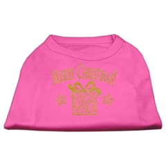 Mirage Pet Products Golden Christmas Present Dog Shirt Bright Pink Med (12)