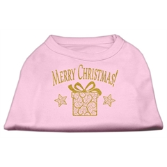Mirage Pet Products Golden Christmas Present Dog Shirt Light Pink Med (12)