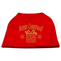 Mirage Pet Products Golden Christmas Present Dog Shirt Red XXXL (20)