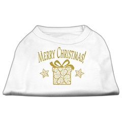 Mirage Pet Products Golden Christmas Present Dog Shirt White Med (12)