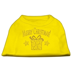 Mirage Pet Products Golden Christmas Present Dog Shirt Yellow Med (12)