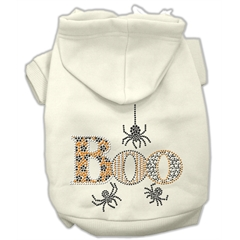 Mirage Pet Products Boo Rhinestone Hoodies Cream M (12)