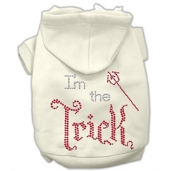 Mirage Pet Products I'm the Trick Rhinestone Hoodies Cream XL (16)