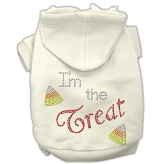 Mirage Pet Products I'm the Treat Rhinestone Hoodies Cream XXXL(20)
