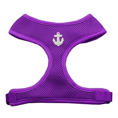 Mirage Pet Products White Anchors Chipper Purple Harness Medium
