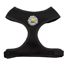 Mirage Pet Products White Daisies Chipper Black Harness Medium